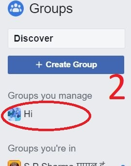 Select facebook group To delete