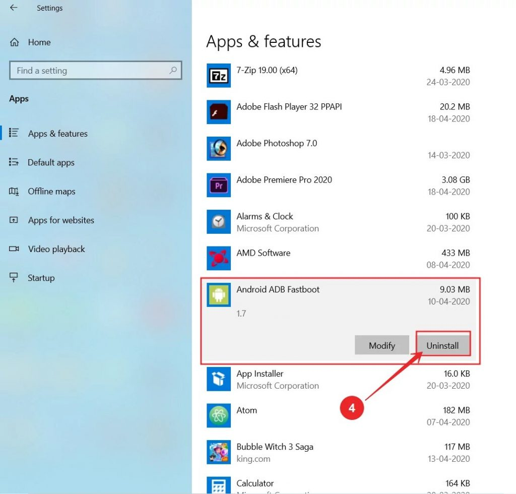 how to uninstall software in windows 10